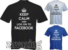 KEEP CALM AND LOG ON TO FACEBOOK MAN T-SHIRT FB TWITTER INTERNET ADDICT CARRY ON