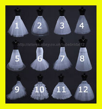 WHITE OR BLACK  BRIDAL WEDDING DRESS /PROM PETTICOAT UNDERSKIRT CRINOLINE,S-XL