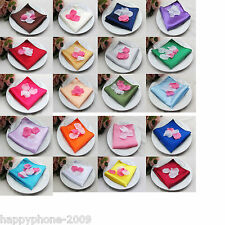 "100pcs 12""*12""Satin Solid Square Handkerchief Hanky Napkin Banquet Wedding Party"