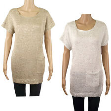 Wallis Gold or White Silver Ladies Short Sleeve Sequin Knitted Tunic Jumper Top