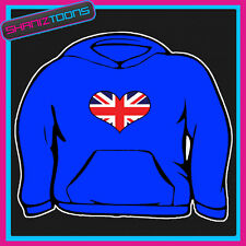 ADULTS UNION JACK FLAG HEART SHAPED HOODY HOODIE ALL SIZES & COLOURS
