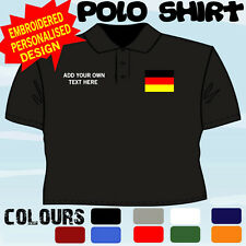 PERSONALISED GERMAN GERMANY   FLAG EMBLEM T POLO SHIRT EMBROIDERED DESIGN