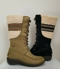 UGG Australia SHORELINE Black Olive Green Lace Up Logo Shearling Tall Boots