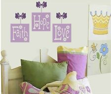 Flowers and vinyl words 4 your wall FAITH - hope - LOVE ...accent your bedding