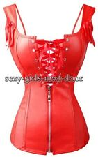Punk Red Red Bonded Faux Leather CORSET Size S-6XL Zipper Bustier A112_red