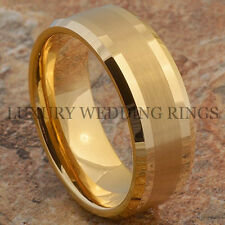 Tungsten Men's Ring Infinity 14K Gold Wedding Band Love Bridal Jewelry Size 6-13