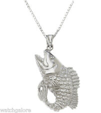 New Solid 0.925 Sterling Silver Bass Fishing Charm Pendant Necklace
