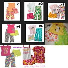 * NEW GIRLS CARTERS 3PC KITTY CAT BUTTERFLIES MONKEY HIPPO SUMMER PAJAMAS SET