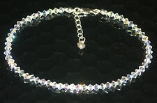 STERLING SILVER Sparkly ANKLET made with SWAROVSKI ELEMENTS with PUFFED HEART
