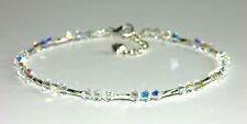 Sparkly ANKLET made with SWAROVSKI ELEMENTS & STERLING SILVER TWISTED TUBES