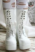 Gothic Lolita Lace up CORSET Platform Calf Boot  White