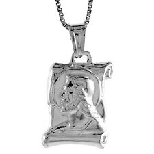 "Sterling Silver Jesus Scroll Pendant / Charm,Made in Italy,18"" Italian Box Chain"