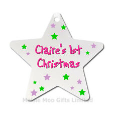 Personalised Babys Baby 1st First Christmas Tree Star Decoration Ornament Gift