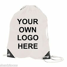 PERSONALISED ADD YOUR OWN TEXT LOGO PICTURE GYM DRAWSTRING WHITE GYMSAC BAG