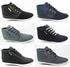 Mens JACK & JONES Canvas Ankle Hi Trainers Vertu New Black Grey Blue Size 6 - 12