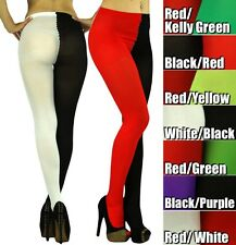 Get A Sexy Two Tone Colorblock Opaque Pantyhose Stockings Leggings Jester Tights