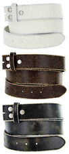 "Distressed Cowhide Leather Belt Strap 1-1/2"" Wide, Black Brown White"