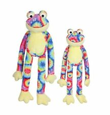 Zanies WOODSTOCK FROGS Dog Toy Soft Plush Tie-Dye Brightly Colored Squeaker
