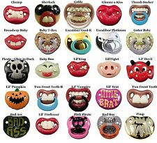 Funny Baby Pacifiers Nuk Style by Billy Bob w/ Teeth and Lips. 24 Choices Cute!