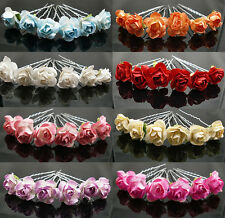 6PCSX Small Rose Flower Hair Pins Wedding Bridal Flowers Accessory Bridesmaids