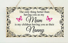 ♥ P19 Shabby Plaque Special Mum Mummy Granny Nanny Nan Gran Gift Sign Chic ♥