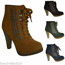 Ankle Plateau Boots Pumps Nieten Plättchen Spikes Wildleder Look