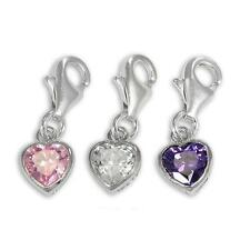 Sterling Silver Heart Crystal Clip on Charm ** 10 Colours ** Free Shipping**