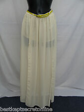NEW DARING CREAM SHEER SPLIT FRONT LONG BELTED SKIRT WITH HOTPANTS LINING