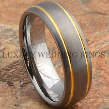 Mens Tungsten Ring 14K Gold Wedding Band 7mm Titanium Color Brushed Size 6-13