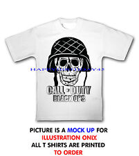 BLACK OPS COD SKULL WHITE T SHIRT MENS LADIES KIDS FREEPOST PRINTED TO ORDER