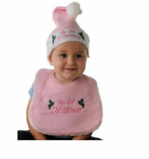 Pink My 1st Christmas or Blue Merry Christmas Baby Bib and Hat Set First Xmas