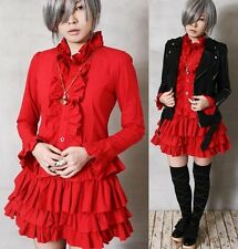 Aristocrat Gothic Dolly Lolita Punk EGL Cosplay Nana Tux Ruffle Shirt Dress Red