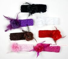Noble Option Sparkle Rose Flower Feather Hair Pin Clip With Crochet Headband 2PC