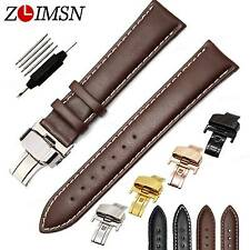 Watch Band Strap Genuine Leather Deployment Clasp Stainless Steel Buckle 12~26mm