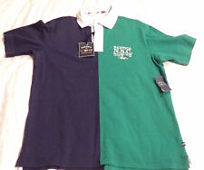 NWT NAUTICA MENS POLO RUGBY SHIRT SHORT SLEEVE 100% COTTON GREEN NAVY BLUE