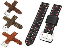 22mm OR 24mm Vogue Thicken Generosity Manual Genuine Leather Watchband Strap B13