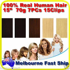 "New Clip in REMY Real Human Hair Extensions 15"" 70g 7PCs on Black Brown Blonde"
