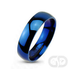 Tungsten Carbide 6mm Wedding Engagement Bridal Band High Polished Blue IP Ring