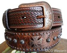 3D Western Mens Belt Leather Tooled Ostrich Print Studs Maltese Cross Brown 1094