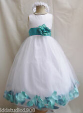 WHITE JADE MERMAID GREEN ROSE PETAL WEDDING PARTY PAGEANT GOWN FLOWER GIRL DRESS
