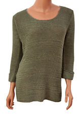 Ladies 3/4 Roll Sleeve Scoop Neck Jumper in Olive Green by Papaya at Matalan