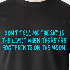 the sky is the limit when there are footprints on the moon retro Funny T-Shirt
