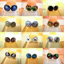 20g 0.8mm Multiple Pattern Select Hot Men Women Fake Ear Plugs Earrings Stud