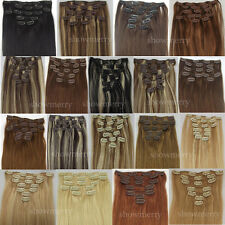 18Colors 100% 7Pcs/8Pcs Remy Real Clip In Human Hair Extensions 70g-100g~F/S