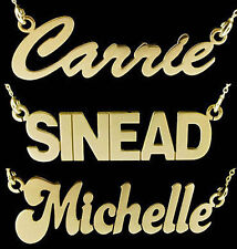 9CT GOLD PLATED SMALL PERSONALISED CARRIE ANY NAME DROP PLATE NECKLACE AND CHAIN