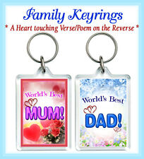 Keyrings Personalised Gift Mum Dad Sister Brother Friend Love Mother's Son Wife
