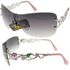 Sizzling Hot Womens Shield Sunglasses with Flowered Metal Frames