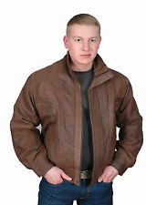 ANTIQUE Leather BOMBER Jacket for MENS Alan Brown Gents new BLOUSEN Leather COAT