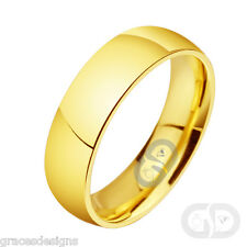 6mm Classic Wedding Engagement Band Yellow Gold Plated 316L Stainless Steel Ring