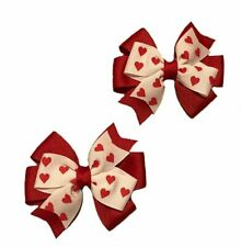 Valentine's Red Hearts Toddler Hair Bow Set